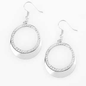 circular silver earrings white rhinestones lining the bottom