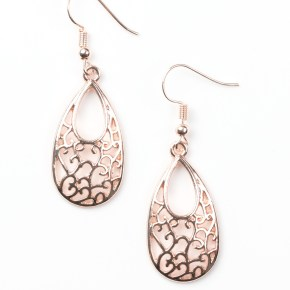 gold teardrop shaped earrings with vine pattern