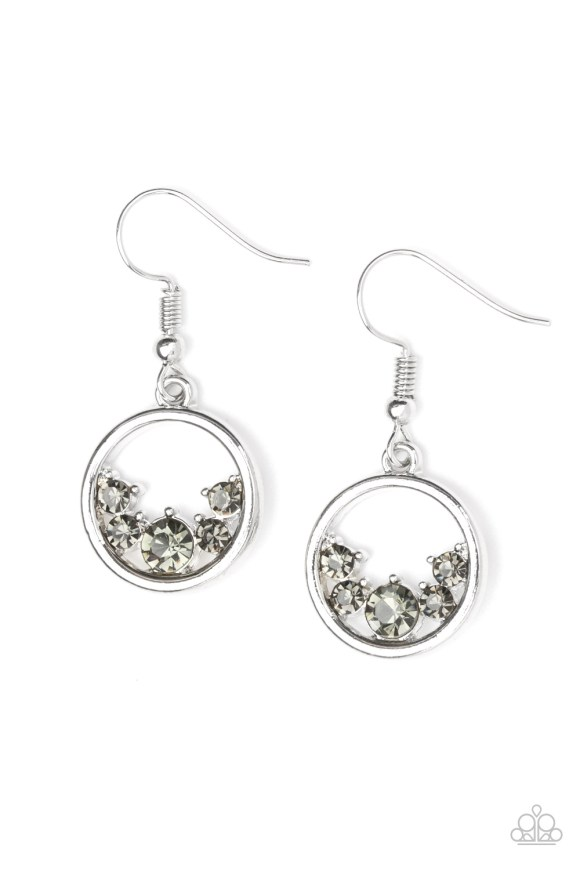 circular earrings with grey jewels settled at the bottom