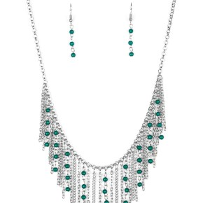 fringe silver and green bead necklace with matching silver and green earrings