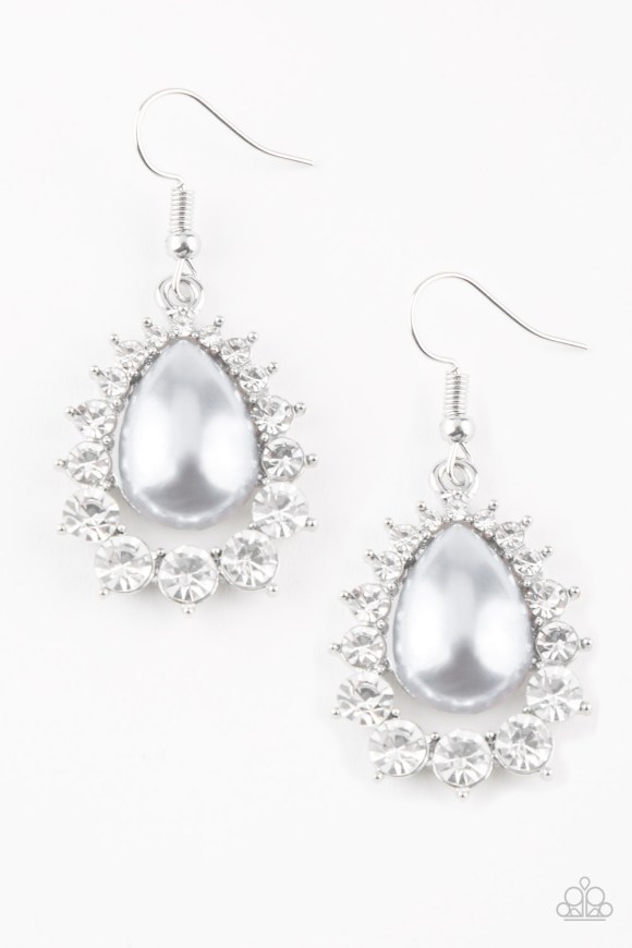 pearl teardrop earring with rhinestones outlining the pearl