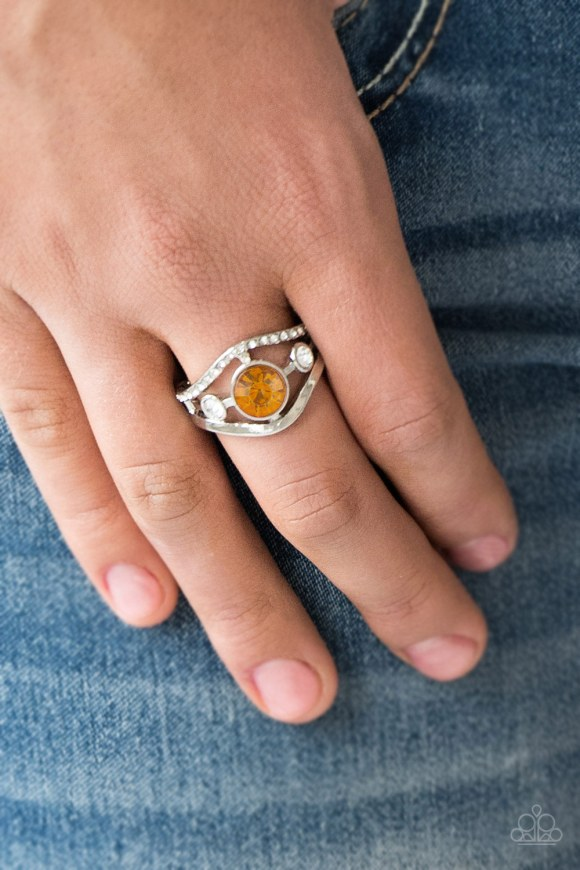 ring with orange stone and rhinestone