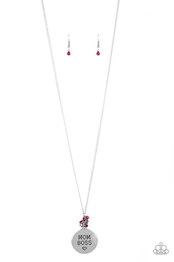 long silver necklace reads mom boss on pendant with pink rhinestones and matching earrings