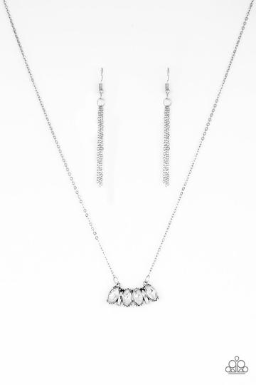 Featuring elegant marquise style cuts, white rhinestones join with silver accents below the collar, creating a dainty pendant. Features an adjustable clasp closure.