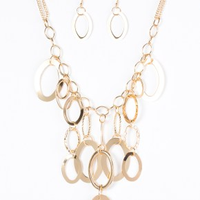 golden necklace circular links