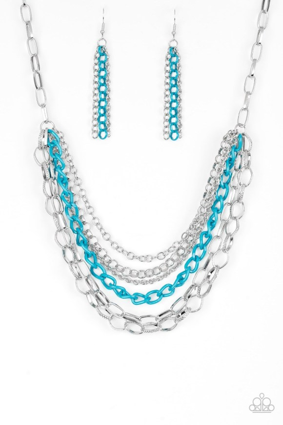 3-tiered chain necklace blue or turquoise and silver