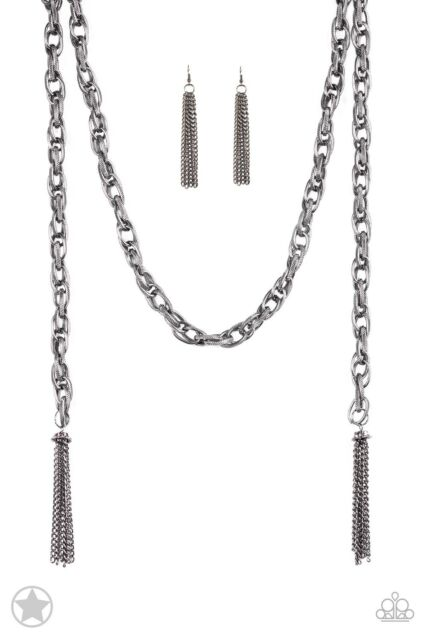 gunmetal scarfed for attention scarf necklace