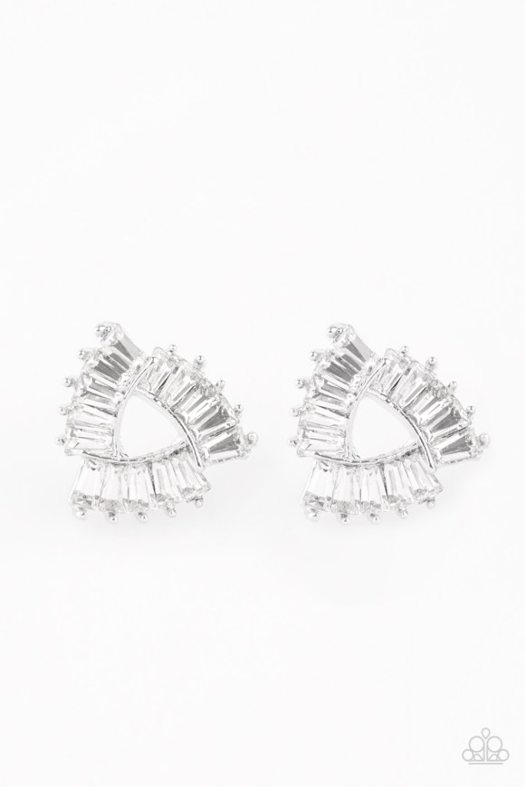 Featuring edgy emerald style cuts, radiant white rhinestones are encrusted along overlapping silver frames for a regal look. Earring attaches to a standard post fitting. Sold as one pair of post earrings.