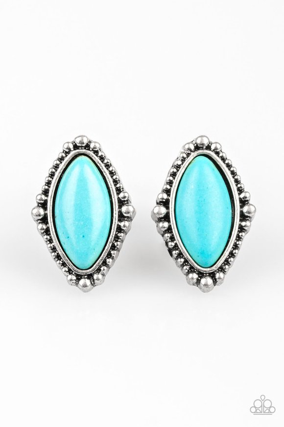 Chiseled into a tranquil marquise shape, a refreshing turquoise stone is pressed into a studded silver frame for a seasonal look. Earring attaches to a standard post fitting. Sold as one pair of post earrings.