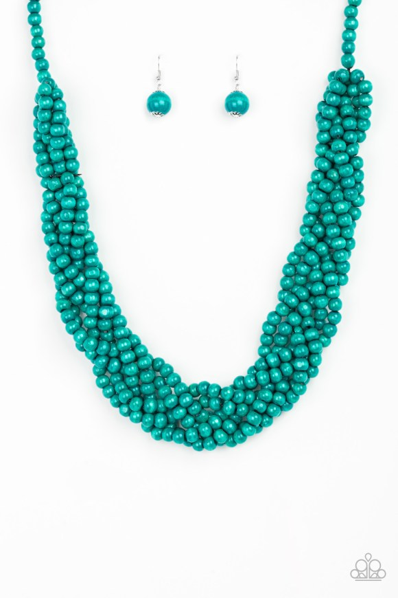 Brushed in a refreshing blue finish, strands of vivacious wooden beads subtly twist across the chest for a summery look. Sold as one individual necklace. Includes one pair of matching earrings.