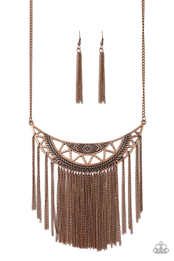 Stamped in tribal inspired patterns, a stenciled copper crescent swings below the collar. Glistening copper chains stream from the bottom of the dramatic pendant, creating a bold fringe. Features an adjustable clasp closure. Sold as one individual necklace. Includes one pair of matching earrings.