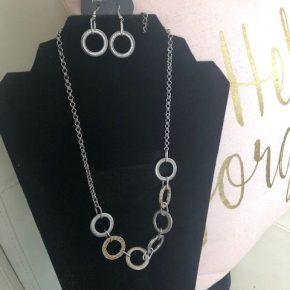 Circular Silver and Copper Rhinestone Necklace