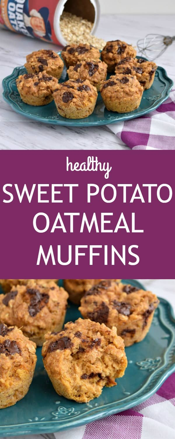 These Sweet Potato Oatmeal Muffins are sure to be a healthy hit with your kids! Made from cooked sweet potato, oats, and whole wheat flour these healthy sweet potato muffins with oatmeal are easy to make!