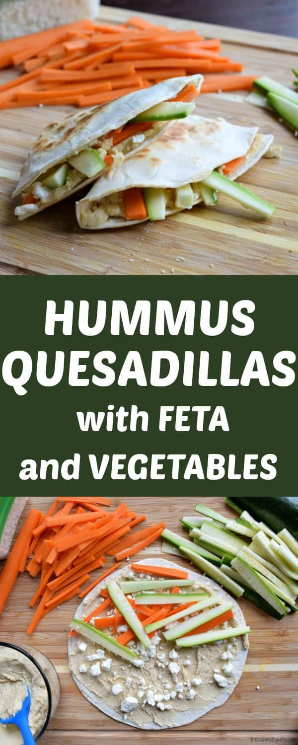 Hummus Quesadillas with Feta and Vegetables