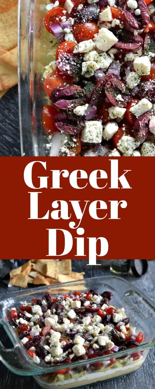 Greek Layer Dip Pinterest Pin #appetizer