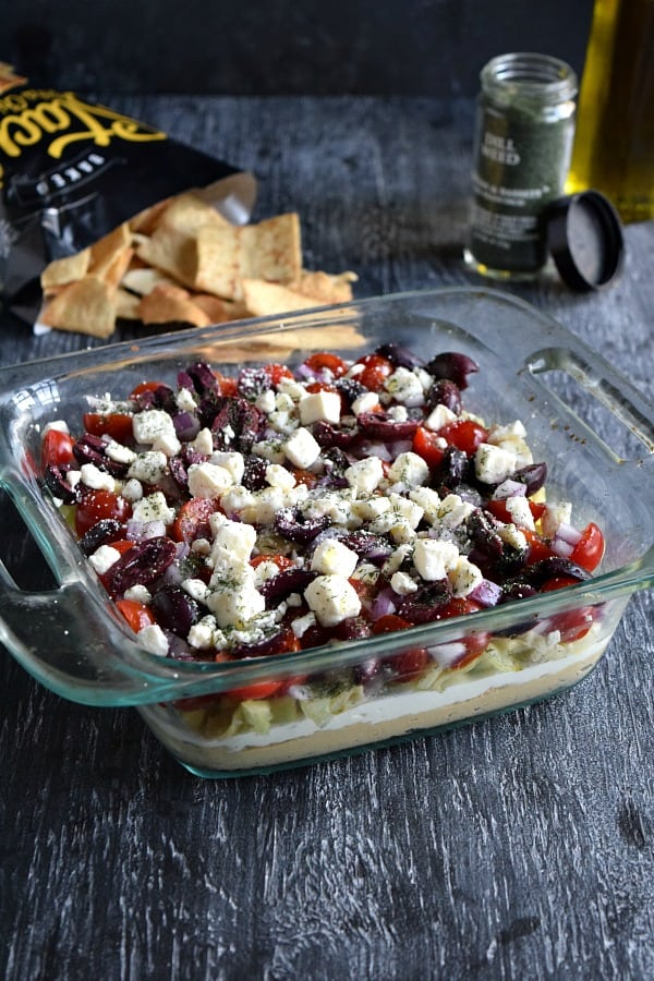 Front view of the greek layer dip