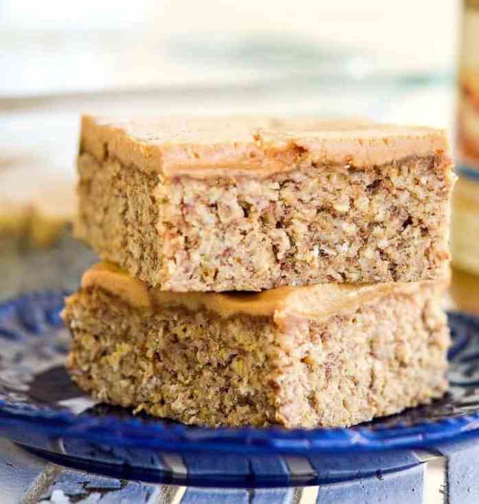 healthy to go peanut butter breakfast bars stacked on a plate