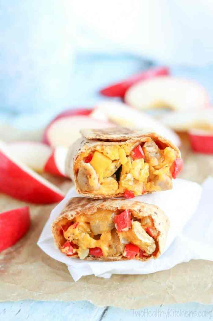 healthy to go chicken-apple breakfast burritos stacked with insides showing