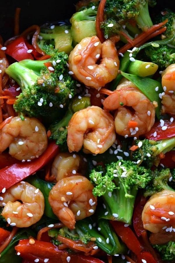 Close up of cooked shrimp stir fry