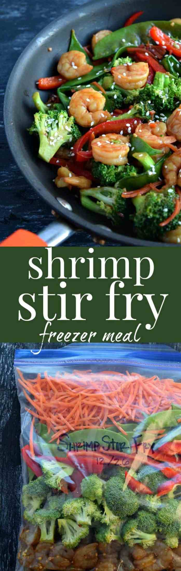 Shrimp Stir Fry Freezer Meal Pinterest Pin #freezermeal #stirfry #dinnerideas