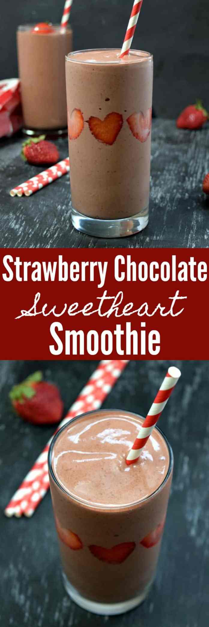 Strawberry Chocolate Sweetheart Smoothie Pinterest Pin #smoothie #strawberry #chocolate #strawberrychocolate #valentinesday