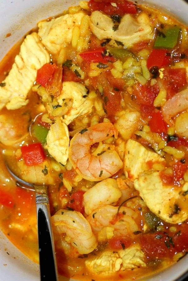 close up of Chicken and Shrimp Paella in a bowl