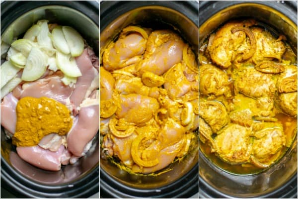 steps 3 and 4 mixing the ingredients and letting the chicken cook in the slow cooker