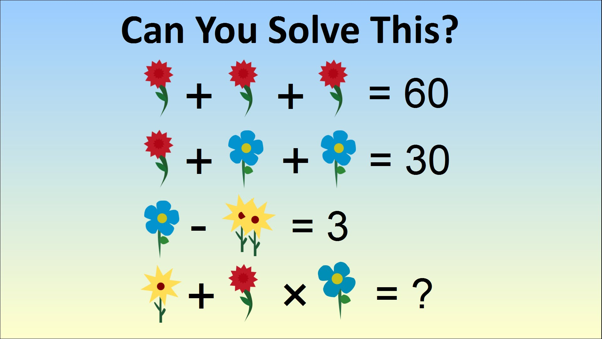Can You Solve This Flower Math Problem