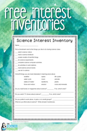 Back to School Interest Inventories