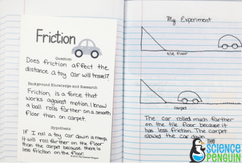 Force and Motion Science Notebook Photos: friction experiment