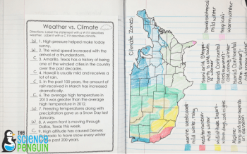 Climate Zones in the US Map activity