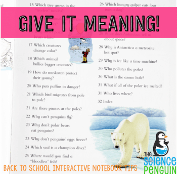 Provide meaning and context when teaching your students to use interactive notebooks. Look at books that have a TOC.