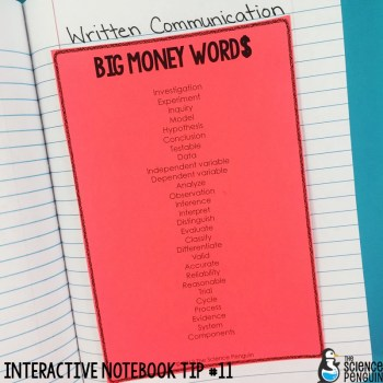 Interactive Science Notebook Tips: Big Money Words