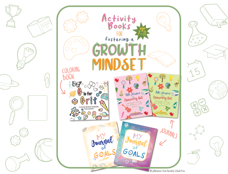 Honeybee School Press publishes a wide selection of growth mindset books for kids. Workbooks to develop self confidence and goal-setting. And coloring books that teach kids a growth mindset vocabulary and why making mistakes is a natural part of learning.