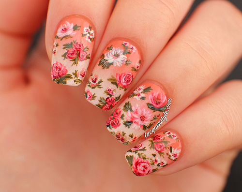 Close up of vintage-inspired floral nail art