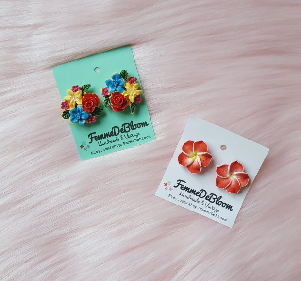 Two pairs of floral earrings