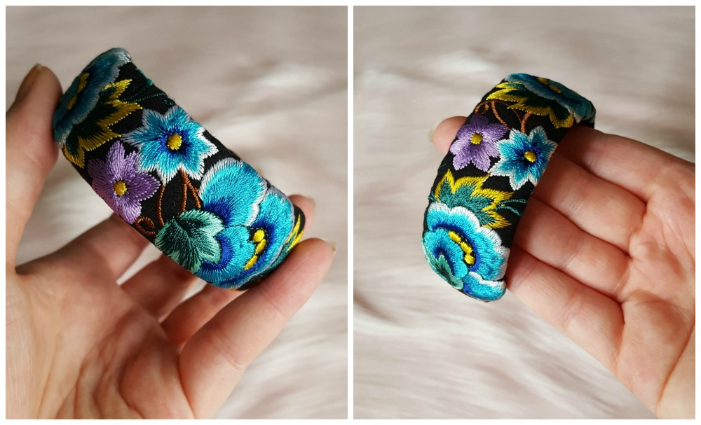 Embroidered floral bangle
