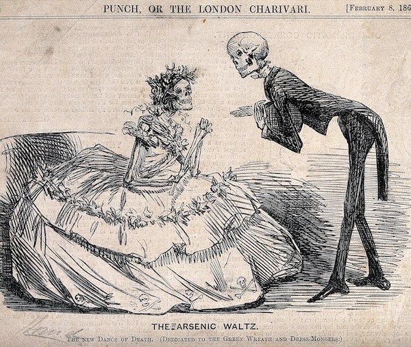 """A historical cartoon of two skeletons dressed as a lady and gentleman, subtitled """"The Arsenic Waltz"""""""