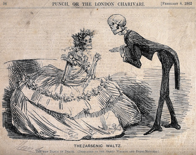 "A historical cartoon of two skeletons dressed as a lady and gentleman, subtitled ""The Arsenic Waltz"""