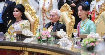 L-R: Raghad Waleed Alkurdi Taib, YDP of Sarawak Taib Mahmud, Myanmar State Counsellor Aung San Suu Kyi. Photo: Infofoto