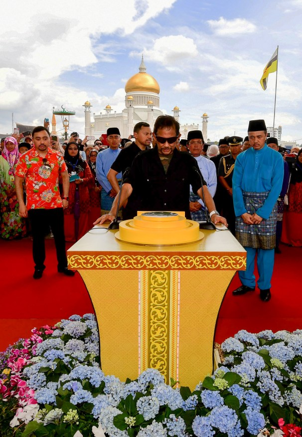 "His Majesty officially launches the eco-corridor, naming it ""Taman Mahkota Jubli Emas"". Photo: Infofoto"