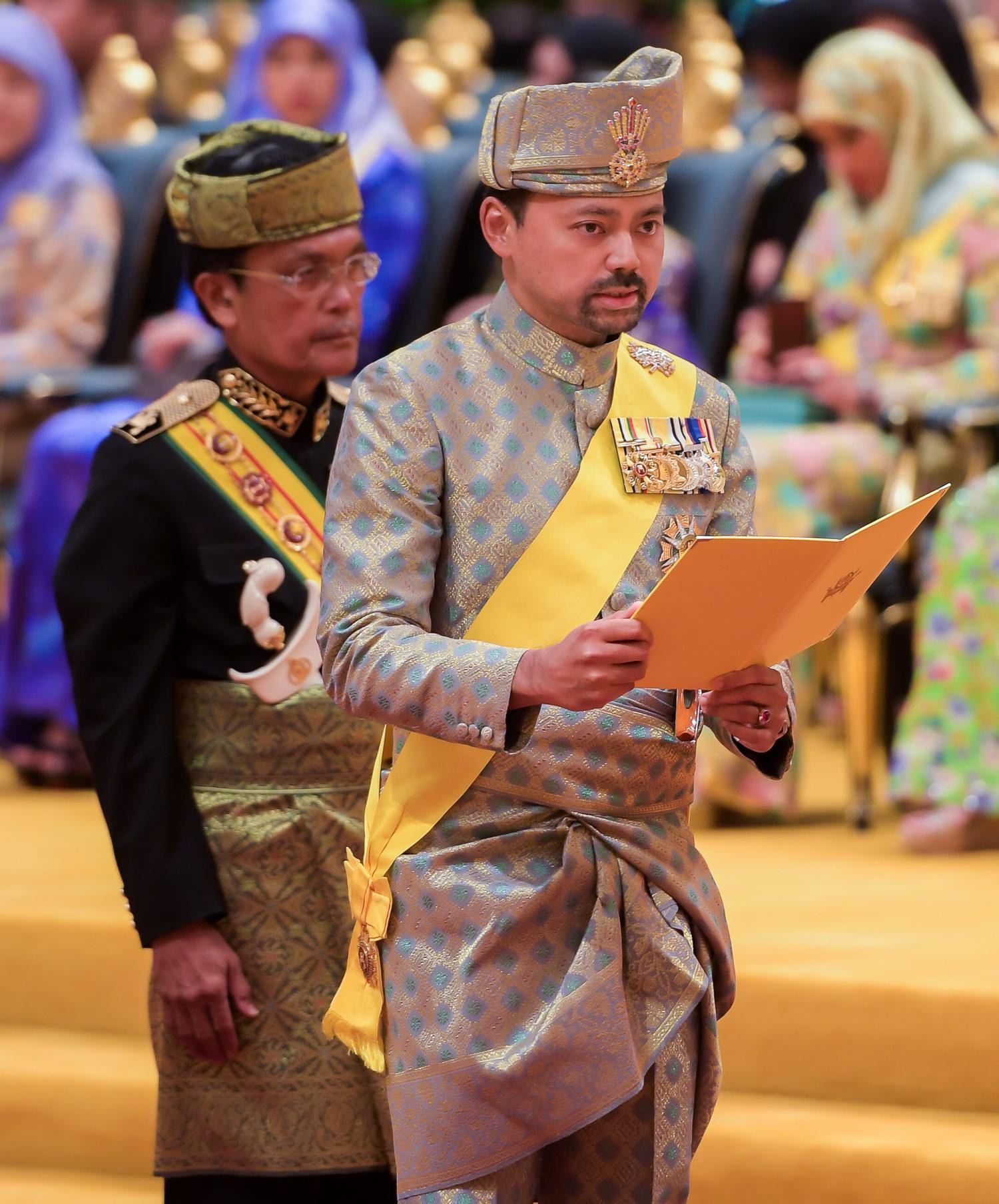HRH Prince Haji Al-Muhtadee Billah, the Crown Prince and Senior Minister at The Prime Minister's Office, delivers a sabda at Istana Nurul Iman. Photo: Infofoto
