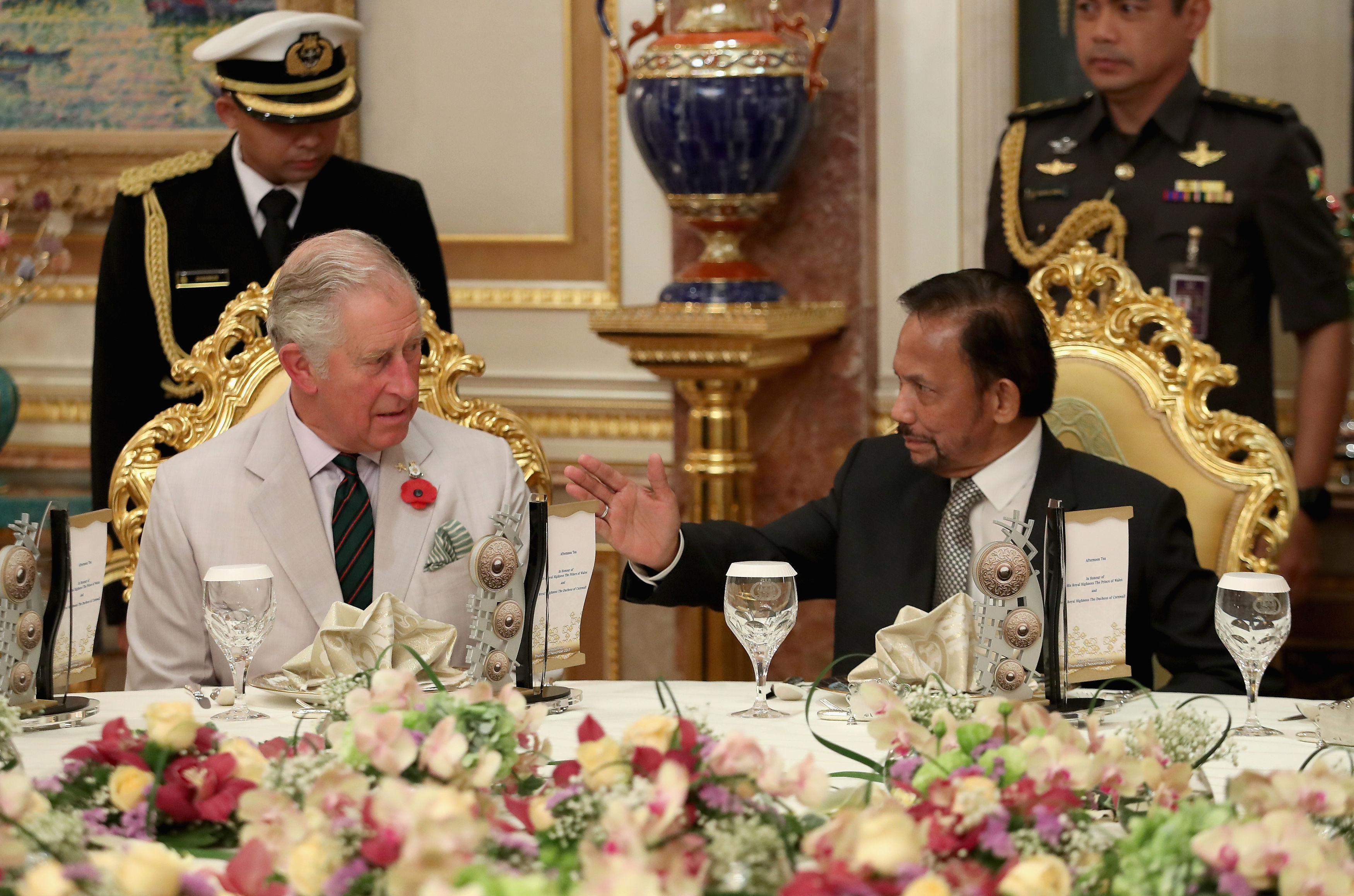 HM the Sultan and HRH Prince Charles attend an afternoon tea at Istana Nurul Iman. Photo: Courtesy of Clarence House