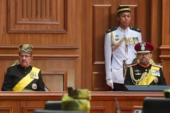 The Crown Prince HRH Prince Haji Al-Muhtadee Billah (R) and HRH Prince Haji Sufri Bolkiah (L) attend the opening of the Legislative Council 2018. Photo: Infofoto