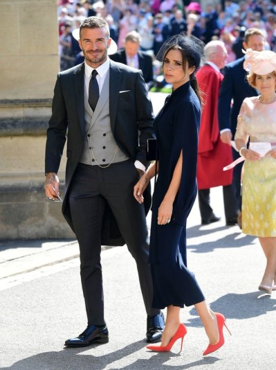 David and Victoria Beckham arrive at St George's Chapel. Photo via Twitter