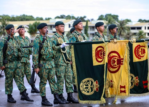 Military personnel during a parade for the RBAF's 57th anniversary on July 1, 2018. Photo: Infofoto
