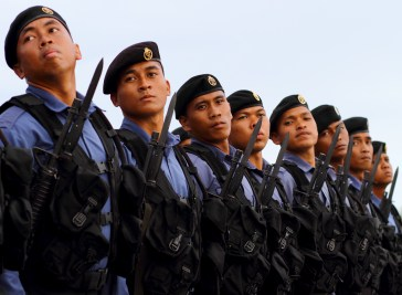 Military personnel during a parade for the RBAF's 57th anniversary on July 1, 2018. Photo: Saifulizam Zamhor