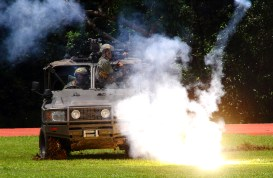 A live military demonstration at Penanjong Garrison during the RBAF's 57th anniversary, July 1, 2018. Photo: Saifulizam Zamhor