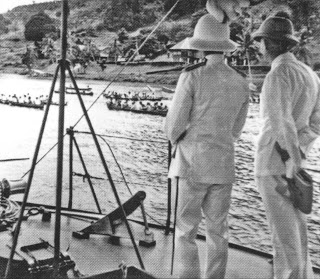 The British resident watching the regatta on the Brunei River in the 1930s. Photo: National Archives