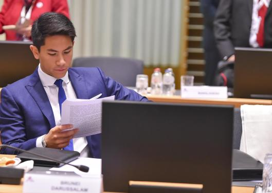 HRH Prince 'Abdul Mateen attending the plenary session of the 12th Asia-Europe Meeting held in Brussels, Oct 19, 2018. Photo: Infofoto